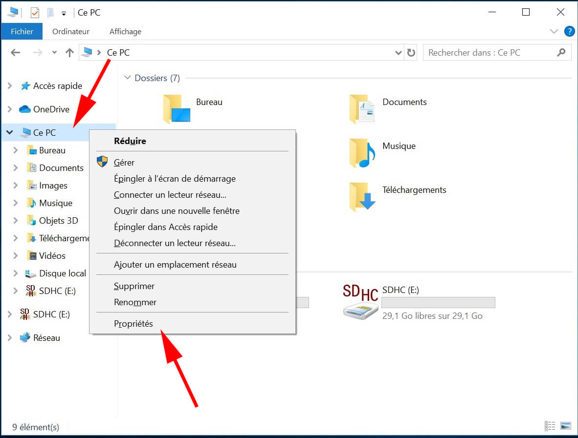 Explorateur de fichiers windows