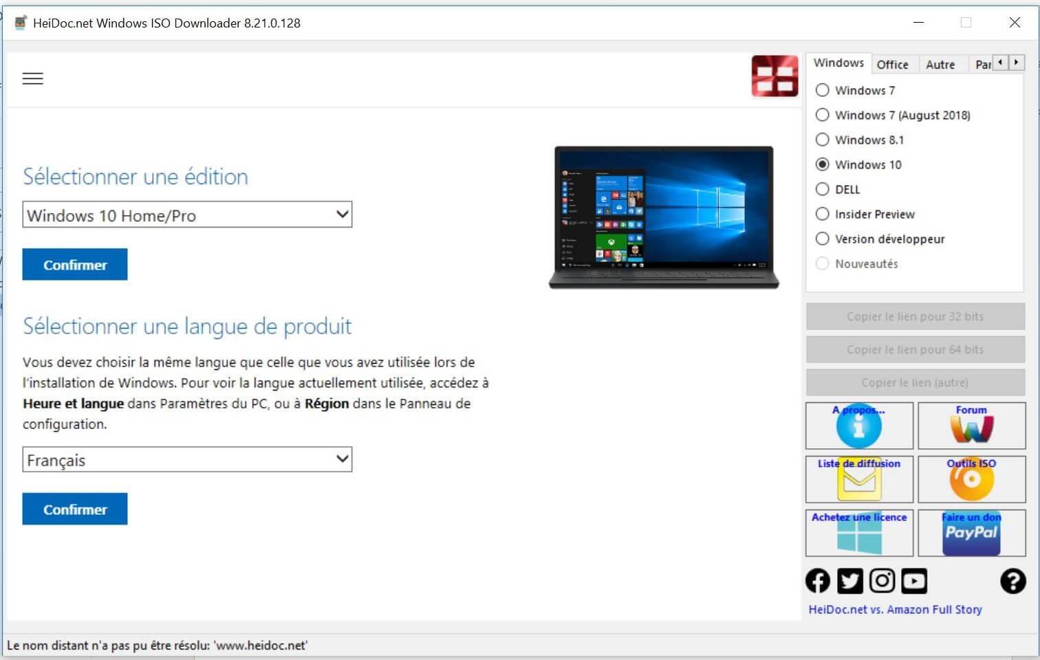 Edition et Langue Windows