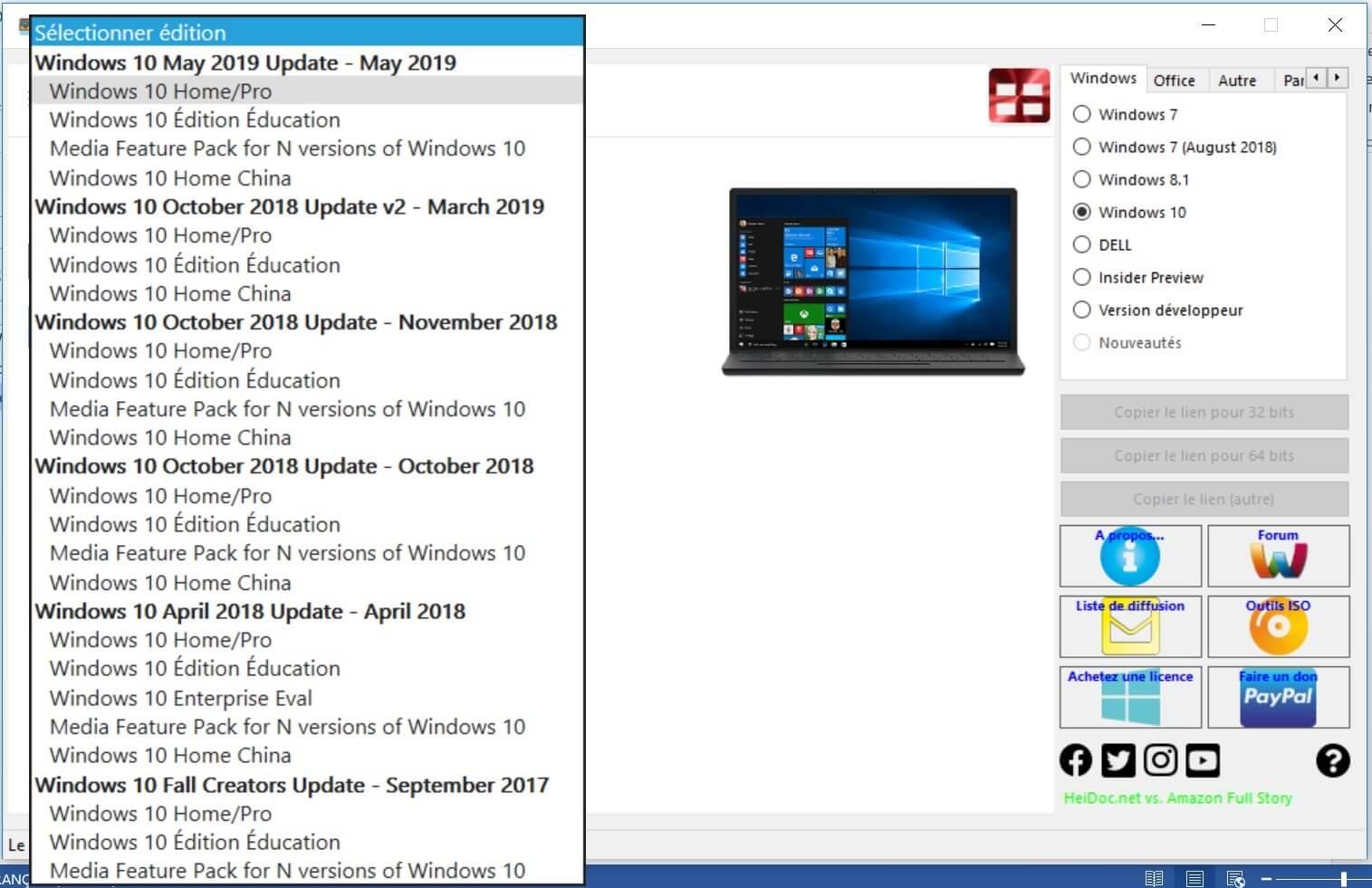 Les Éditons Windows 10